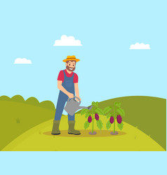 Farming man with watering can vector