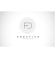 Fd f d logo design with black and white creative vector
