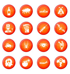 Fears phobias icons set red vector