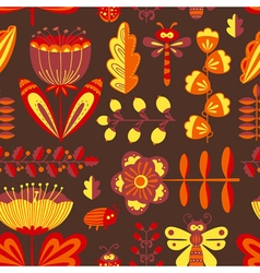 Floral seamless pattern with bugs and dragonfly vector