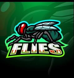 Fly mascot esport logo design vector