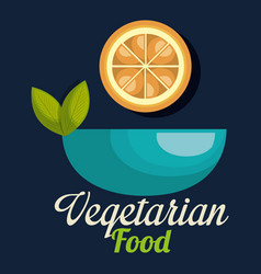 fresh orange in bowl vegetarian food vector image