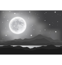 Full Moon over mountains and lake Night landscape vector image