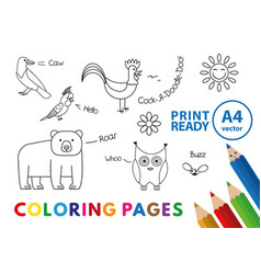 Funny animals coloring book vector