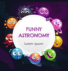 Funny astronomy childish page design vector