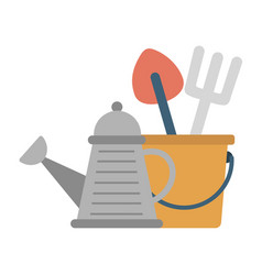 Gardening tools watering can with instruments vector