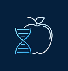 Genetically modified apple colored outline vector