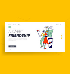 girlfriends meeting website landing page young vector image