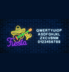 glowing neon fiesta holiday sign with alphabet vector image