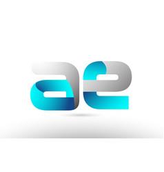 Grey blue alphabet letter ae a e logo 3d design vector