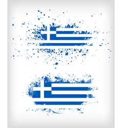 Grunge greek ink splattered flag vector image