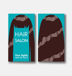 Hair salon business card templates with brown hair vector