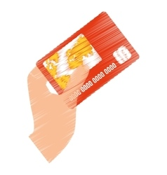 Hand draw holds credit card bank color vector