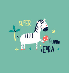 hand drawing cute zebra vector image