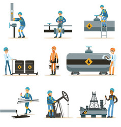 happy people working in oil industry collection of vector image