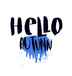 Hello autumn print with rainy weather concept vector
