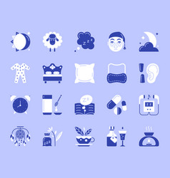 insomnia simple color flat icons set vector image