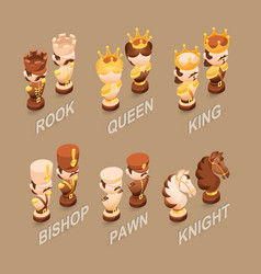 isometric cartoon chess pieces flat vector image