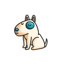 little cartoon bull terrier dog vector image