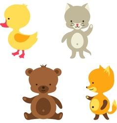 Little cute bacat bear fox and duck vector
