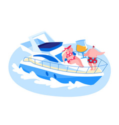 loving couple relaxing on luxury yacht at ocean on vector image