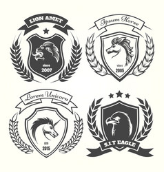 medieval heraldry coat arm set vector image