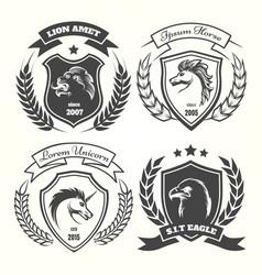 medieval heraldry coat arm set vector image