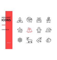 merry christmas - line design style icons set vector image