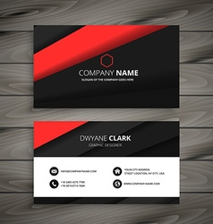 minimal red black business card vector image