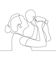 Mother holding little bain her arms continuous vector