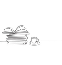 one single line drawing opened page book vector image