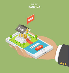 Online banking flat isometric concept vector