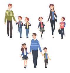 parents taking their children to school in the vector image