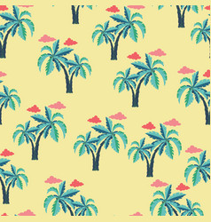 pattern with palm trees and clouds vector image