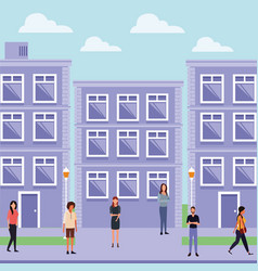 people at town vector image