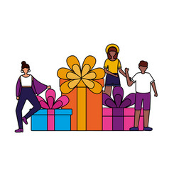 people with big gift boxes birthday celebration vector image