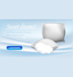 Pillows with hypoallergenic protection banner vector