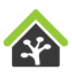 Plant glasshouse halftone icon vector
