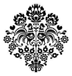 Polish folk art black pattern on white - Wycinanka vector image