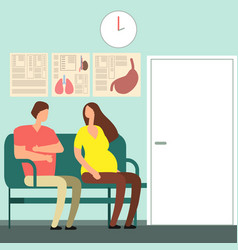 pregnant woman and man waiting for doctor vector image