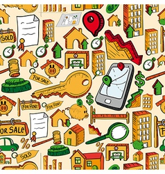 Real estate icons seamless pattern vector