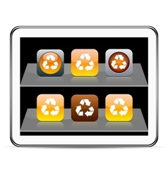recycling orange app icons vector image