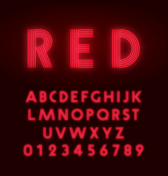 Red neon alphabet font letters and numbers line vector