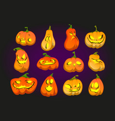 scary halloween pumpkins with light inside vector image