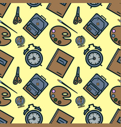 seamless pattern with colorful school icons on vector image