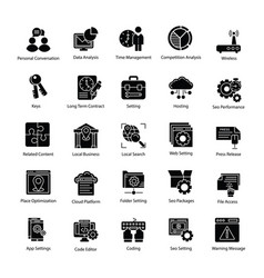 Search engine and optimization productive icons vector