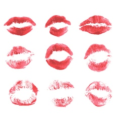 Set of beautiful red lips print on isolated white vector image