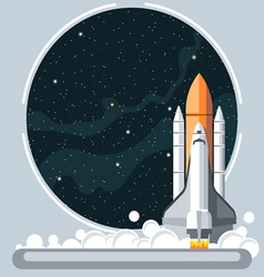 Shuttle at launch with fire and smoke vector