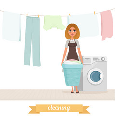 smiling woman standing near washing machine with vector image
