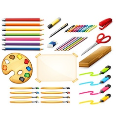 Stationary set with colorpencils and art objects vector